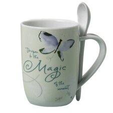 Butterflies Promise 2 Piece 16 Oz. Porcelain Mug and Spoon Set