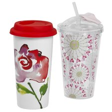 "Love 2 Piece 16 Ounce Hot 'n"" Cold Double Wall Travel Mug Set"