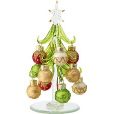 Glass Christmas Tree with Ornaments