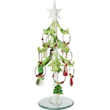 Glass Christmas Tree with Wine Markers Ornaments