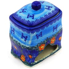 Polish Pottery Stoneware Jar with Lid