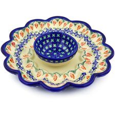 "Polish Pottery 9"" Egg Plate"