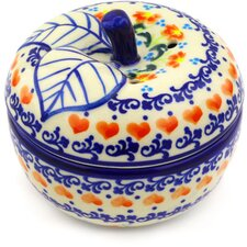 Polish Pottery Stoneware Apple Shaped Jar