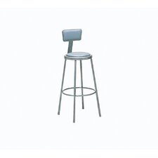 Height Adjustable Upholstered Seat Stool with Backrest