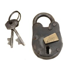 Decorative Miniature Handcrafted Reproduction Antique Lock Padlock with Keys