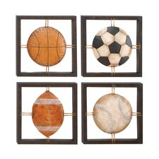 4 Piece Casa Cortes All American Sports Time Metal Art Wall Decor Set
