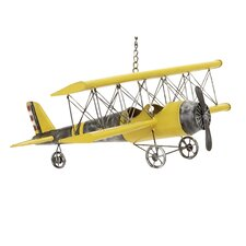 Handcrafted Antique Die Cast Metal Bi-Plane Airplane Toy Replica
