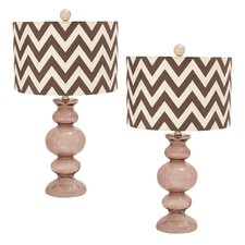 """Urban Glass 26"""" Table Lamp with Drum Shade (Set of 2)"""