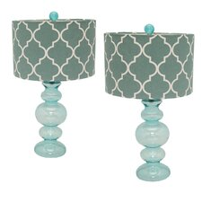 "Urban Solar Glass 26"" Table Lamp with Drum Shade (Set of 2)"