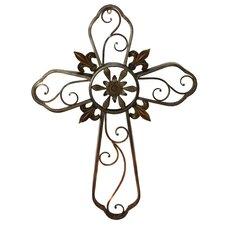 Hanging Wall Cross Fleur-De-Lis Metal Sculpture Wall Decor