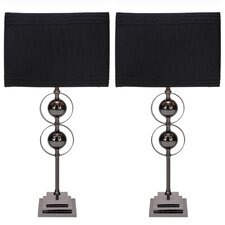 "Casa Cortes Loft Obsession 25"" H Table Lamps with Rectangular Shade (Set of 2)"