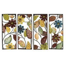 4 Piece Urban Designs Pop Art Flowers Wall Décor Set