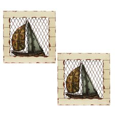 2 Piece Urban Designs Sail Boat Wall Décor Set