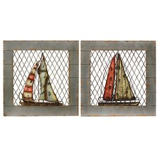 2 Piece Urban Designs Nautical Boats Wall Décor Set