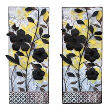 2 Piece Urban Designs Vibrant Flowers Wall Decor Set