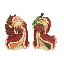 2 Piece Santa Figurine Set