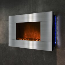 "36"" Wall Mount Stainless Steel Electric Fireplace"