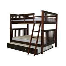 Full Over Full Bunk Bed Mission style in Cappuccino with Full Trundle