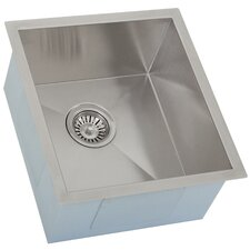 "Ticor 16"" X 17-1/2"" Inch Zero Radius 16 Gauge Stainless Steel Single Bowl Square Undermount Kitchen Bar Sink"