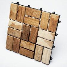 "Le Click Flex Teak 12"" x 12"" Interlocking Deck Tiles (Box of 10)"