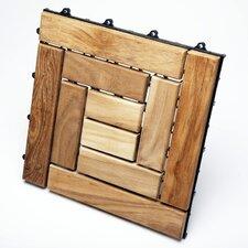 "Le Click Spiral Teak 12"" x 12"" Interlocking Deck Tiles (Box of 10)"