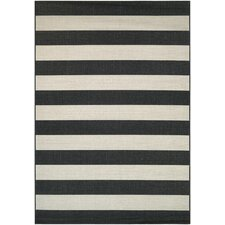 Afuera Yacht Club Onyx & Ivory Indoor/Outdoor Area Rug