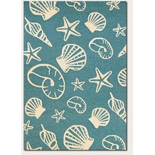 Outdoor Escape Cardita Shells Turquoise/Ivory Indoor/Outdoor Area Rug