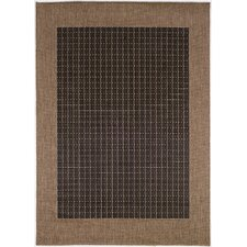 Recife Checkered Field Black Cocoa Indoor/Outdoor Area Rug