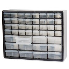 """Stackable Cabinets, 44 Drawers, 20""""x6-3/8""""x15-13/16"""", Gray"""
