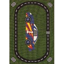 All Stars Race Car Road Green/Black Area Rug