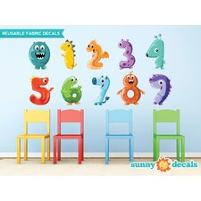 Monster Numbers Fabric Wall Decal