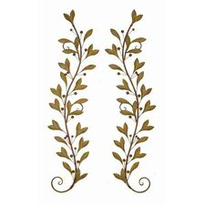 2 Piece Urban Trends Leaves and Beads Wall Décor Set