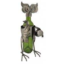 Owl with Barrel 1 Bottle Tabletop Wine Rack