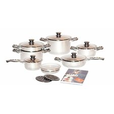 Millerhaus 7-Ply T304 Stainless Steel 17-Piece Cookware Set