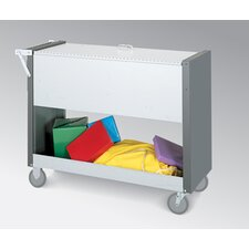 Long File Cart with Casters and Locking Top