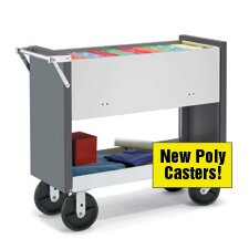Long File Cart with Poly Casters and Locking Top