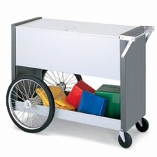 Long File Cart with Rear Tires and Locking Top