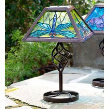 "12.5"" H Solar Outdoor Table Lamp with Bell Shade"