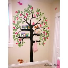 Shelving Tree with Birds and Squirrels Vinyl Art Wall Decal