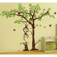 Playing Monkeys and Squirrel in The Grassland Removable Vinyl Art Wall Decal