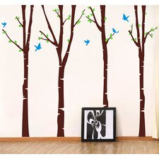4 Super Colorful Birch Trees Removable Vinyl Art Wall Decal