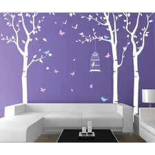 Three Birch Trees and Birdcage Removable Vinyl Art Wall Decal