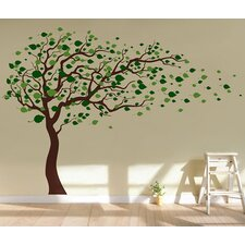 Tree Blowing in The Wind Removable Vinyl Art Wall Decal