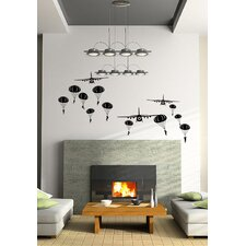 Paratrooper and Airplanes Wall Decal