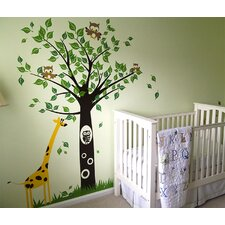 Big Tree with Giraffe Wall Decal