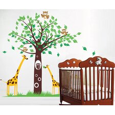 Big Tree with Cute Giraffe Wall Decal