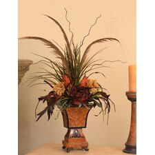Pheasant Feather Floral Design with Natural Accents