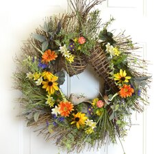 Garden Herb Wreath with Black Eyed Susans and Daisies