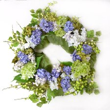 Blue, Green and Cream Hydrangea Silk Wreath with Berries