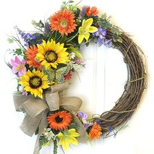 Colorful Sunflower Crescent Wreath with Butterflies
